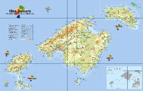 Географическая карта Балеарских островов с дорогами и населёнными пунктами
