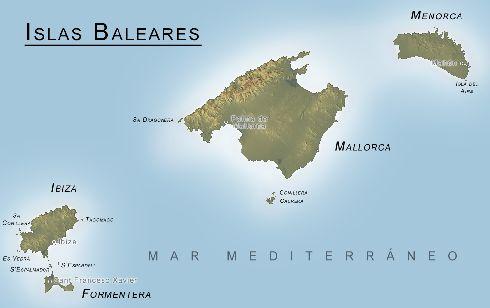 Физическая карта Балеарских островов