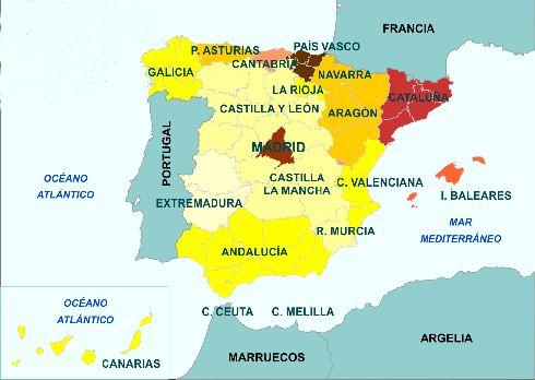Расположение Балеар на карте Испании