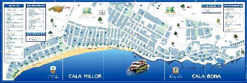 Карта побережья Кала-Миллор и Кала-Боны