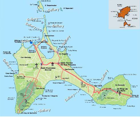 Географическая карта о. Форментера