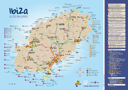 Большая карта Ибицы с планировкой улиц, расположением отелей и домов