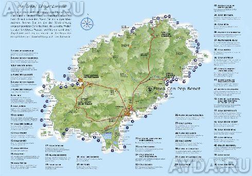 Карта с курортами, городами и пляжами Ибицы