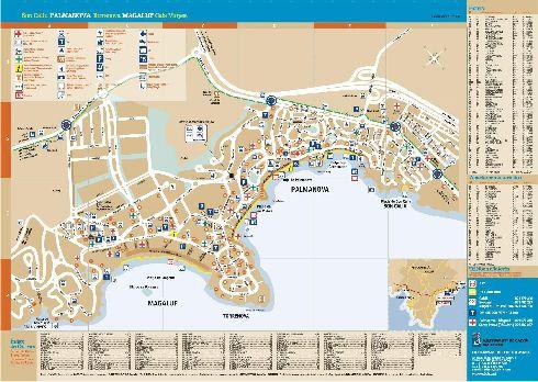 Карты курортов Магалуф и Пальма-Нова с пляжами и объектами туристической индустрии