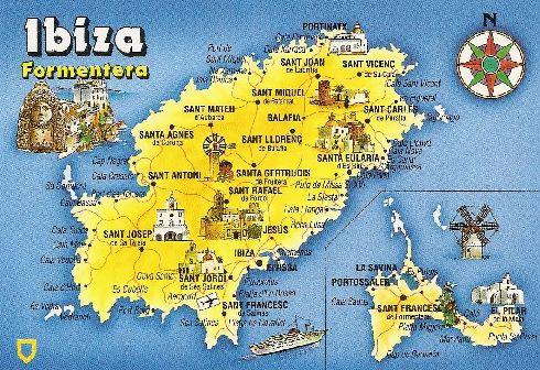 Карта с достопримечательностями и городами острова