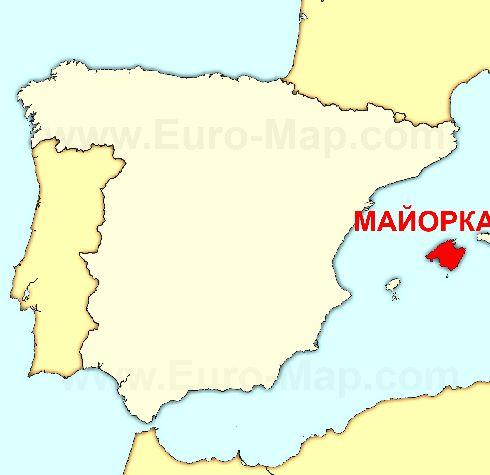 Майорка на карте Испании