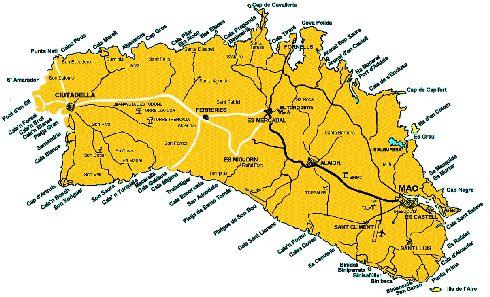 Карта пляжей, городов и деревушек Менорки