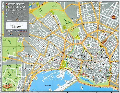 Схематическая карта Пальма-де-Майорки с улицами, рынками, галереями, больницами и др.
