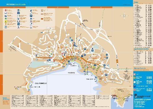 Карта с отелями, ресторанами и достопримечательностями города Пагуэра
