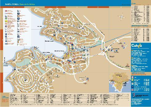 Карта Санта-Понса: отели с номерами телефонов,  рестораны, магазины, пункты первой медицинской помощи, музеи и пр.