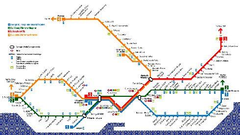 Карта автобусных маршрутов Барселоны