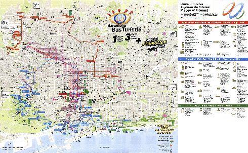 Карта экскурсионных маршрутов компании ''Barcelona Bus Turistic''