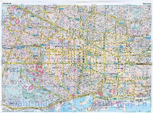 Детальная карта Барселоны с обозначенными кварталами, улицами, парками и бухтами