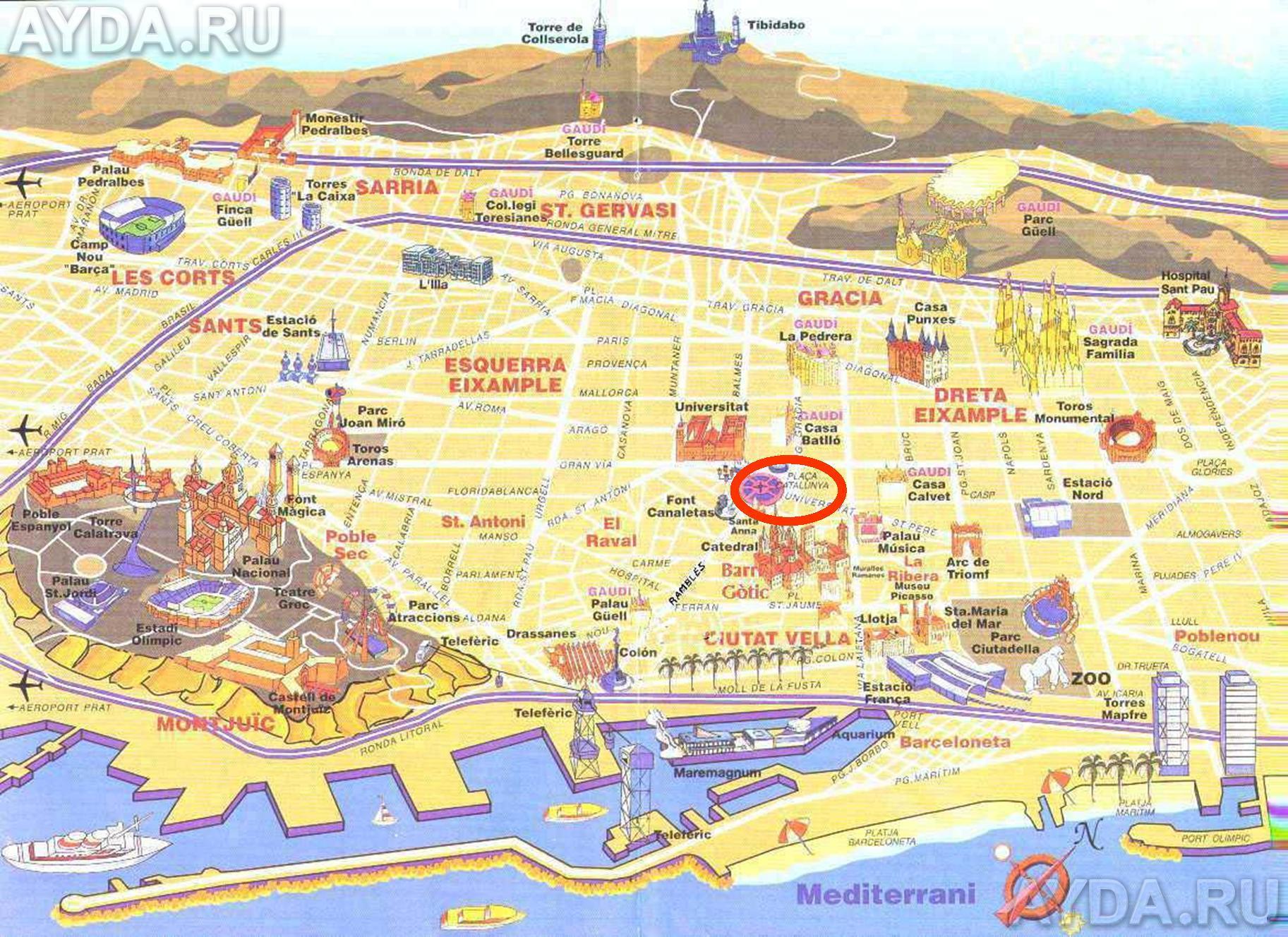 Подробные карты Барселоны: Барселона на карте Испании ...: http://www.espanatur.ru/goroda-i-kurorty/karta-barcelonu.html