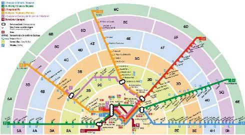 Схема транспортных зон Барселоны