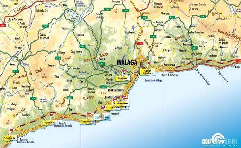Малага на карте Коста-дель-Соль