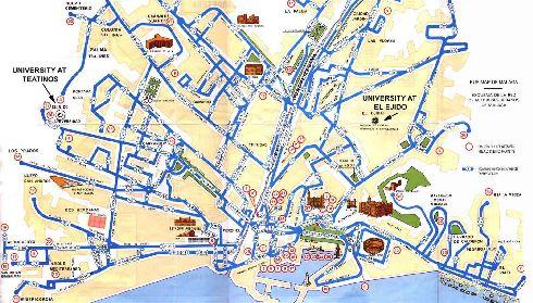 На этой карте обозначен маршрут движения автобусов города