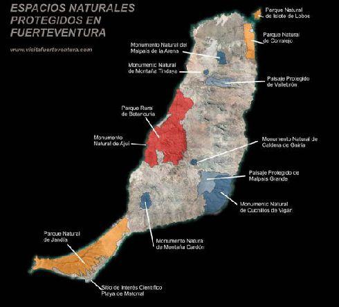 Расположение национальных парков на Фуэртовентуре