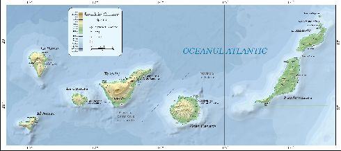 Физическая карта Канарских островов