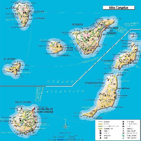 Тенерифе на карте Канарского архипелага