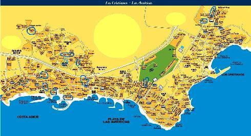 Географическая карта Лас Америкас и Лос Кристианоса