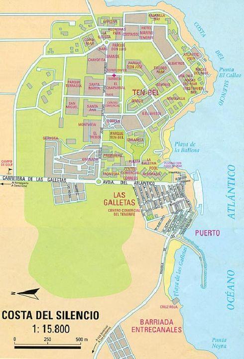 Карта прибрежного участка Коста-дель-Силенсио