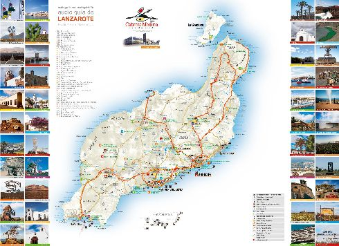 Карта с достопримечательностями, улицами и городами Лансароте