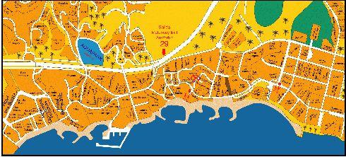 Схематическая карта курорта Лас-Америкас