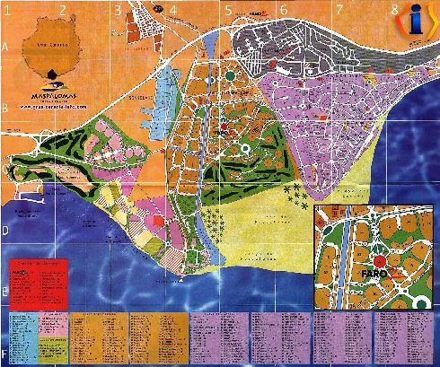 Карта курорта Маспаломас с пляжами, отелями, парками и прочей инфраструктурой