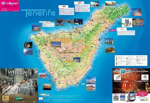 Туристическая карта с достопримечательностями о. Тенерифе