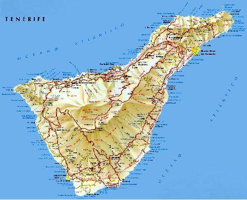 Физическая карта Тенерифе с прорисовкой рельефа, дорогами и населёнными пунктами