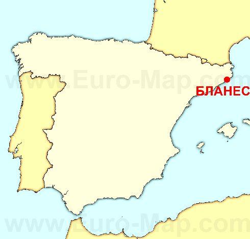 Расположение Бланеса на Средиземноморском побережье Испании