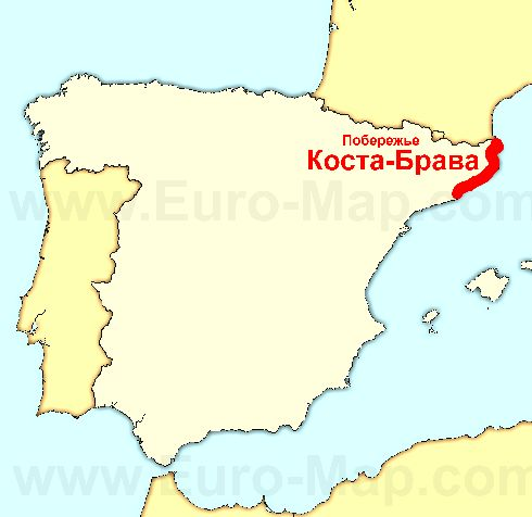 Коста-Брава на карте Испании