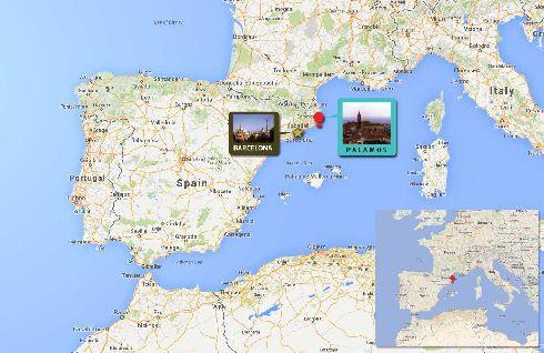 Красный кружок на карте Испании - курорт Паламос