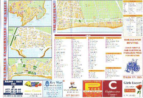 Карта расположения отелей на курортах Коста-Дорада, консульств и аптек с телефонами