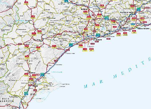 Географическая карта побережья Коста-Дорада