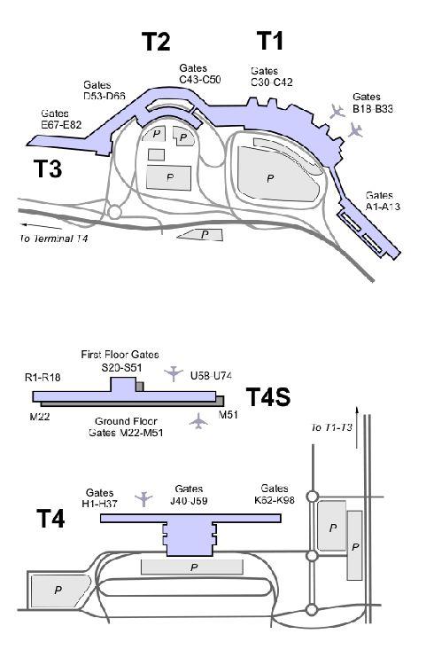 Аэропорт Мадрида: терминалы Т1, Т2 и Т3 находятся рядом друг с другом, Т4 и его саттелит Т4S - отдельно, в последнем приземляются самолёты из России