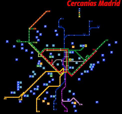 Схема движения пригородных поездов в Мадриде