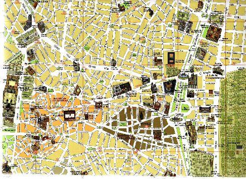 Туристическая карта Мадрида с памятниками, музейными комплексами, интересными местами