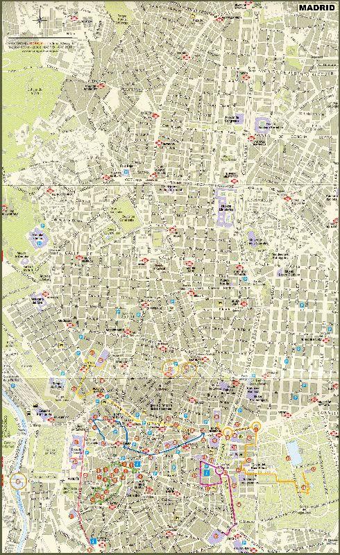 Подробная карта Мадрида с улицами и районами