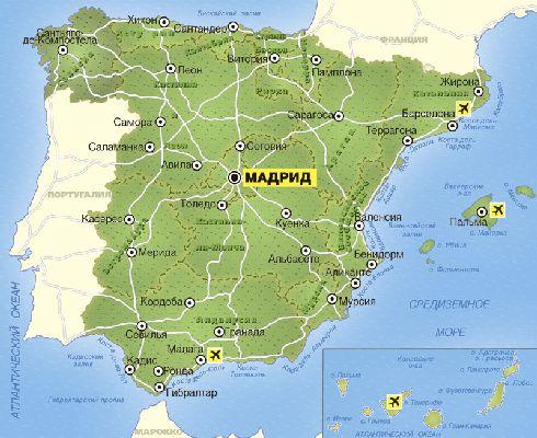 Карта Испании, г. Мадрид