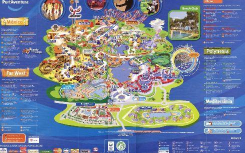Схема Порт-Авентуры с перечнем аттракционов в каждом тематическом парке