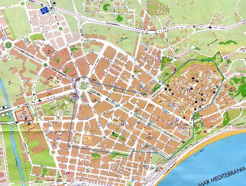 Географическая карта Таррагоны с автовокзалами, улицами, районами, парковками, информационными центрами и прочей инфраструктурой