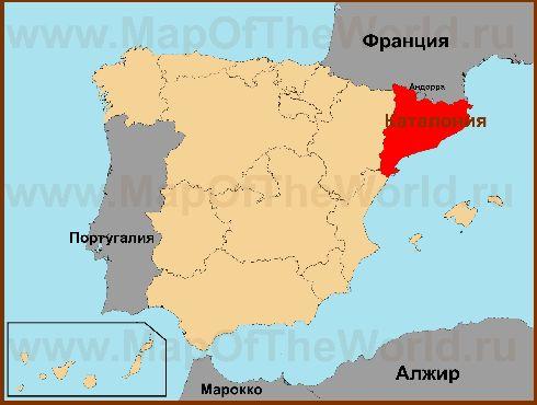 Каталония находится в восточной части Испании